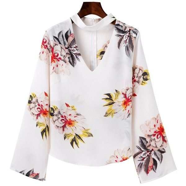 35fddba5f8fbb Split Sleeve Floral Print Choker Top ( 21) ❤ liked on Polyvore featuring  tops