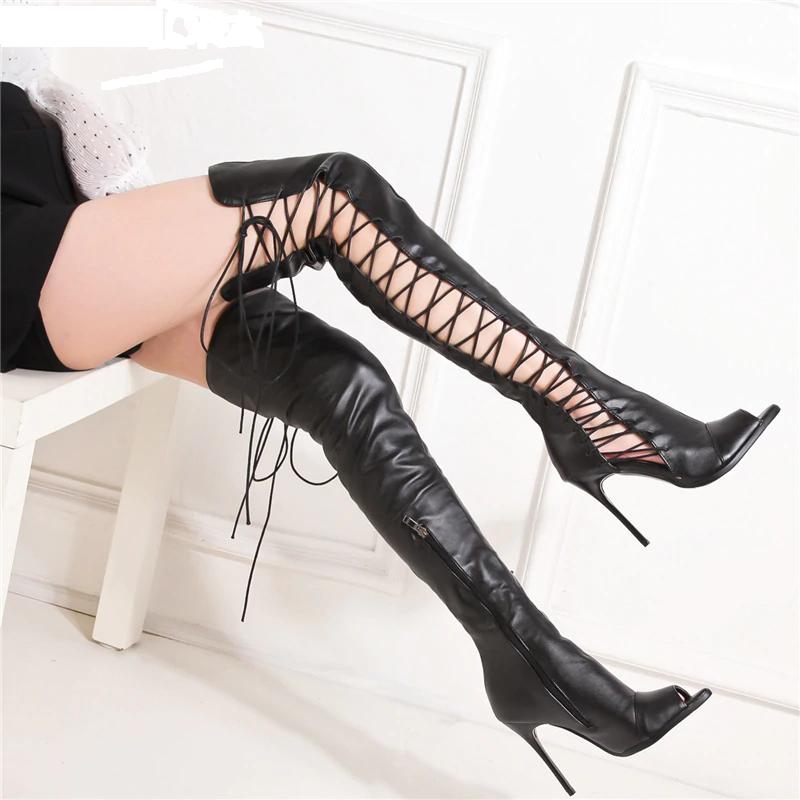 Knee Boots   Peep Toe High Heel Boots