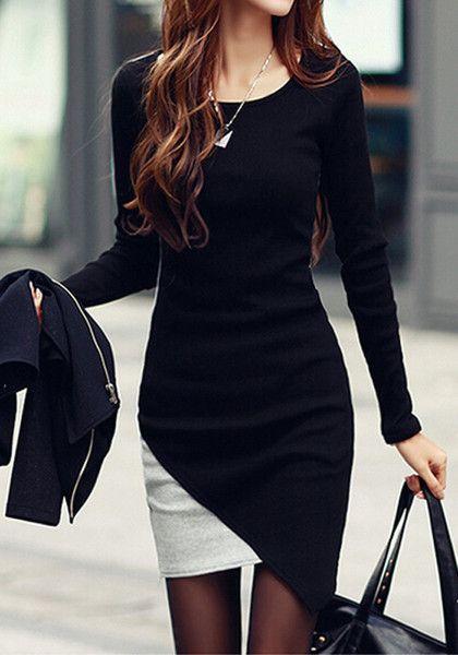 c187059de3ae7 Colorblocked Body-Con Dress - Elegant Colorblocked Body-Con Dress Mode Für  Frauen