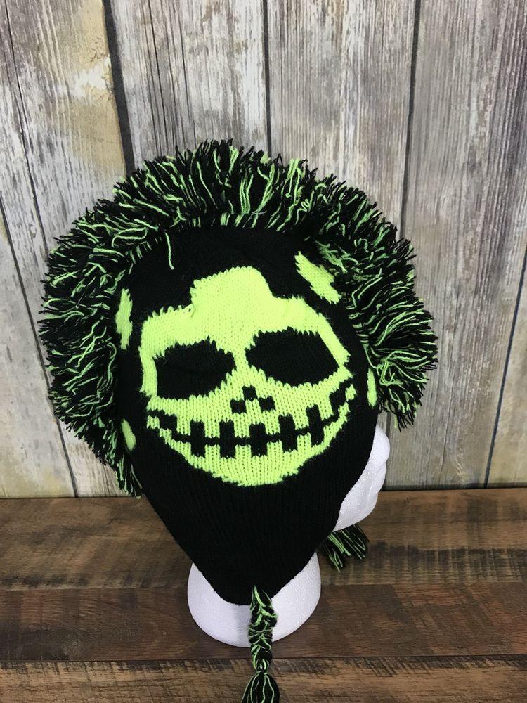 DP California Kids Knit Winter Hat Yellow Black Mohawk Skull Skeleton  Halloween  DP  Beanie d112c8ce3ecc