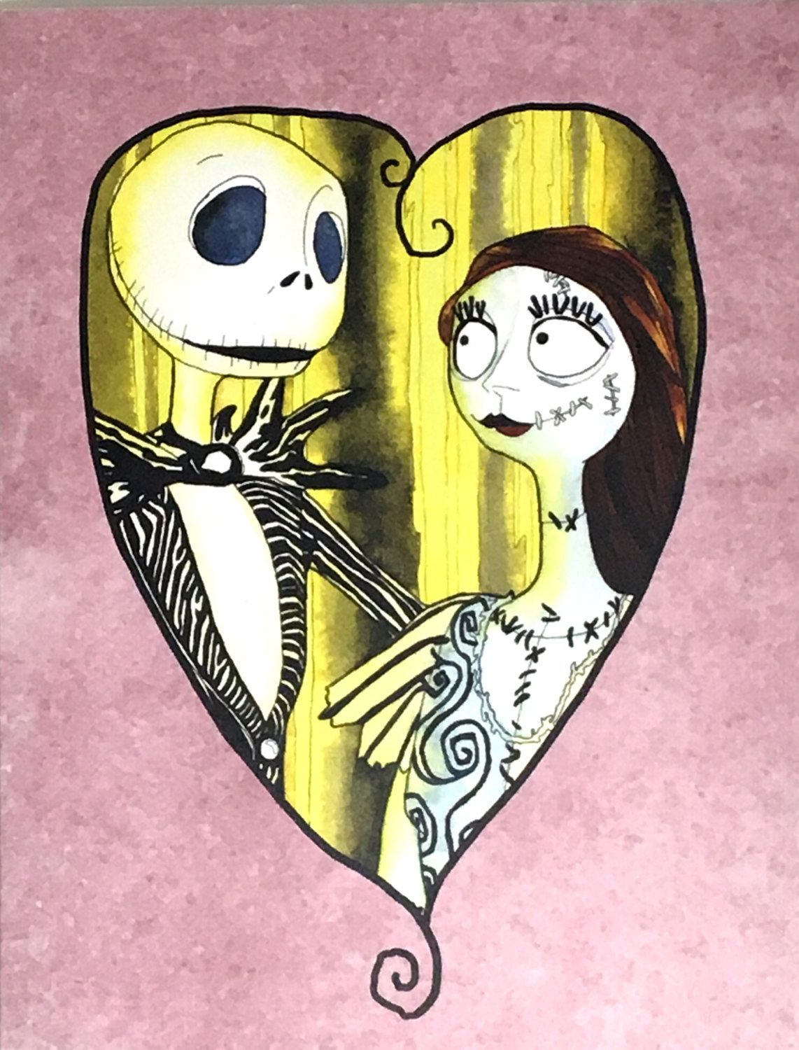 Jack and Sally Fan Art Watercolor Art Print, Jack Skellington Wall ...