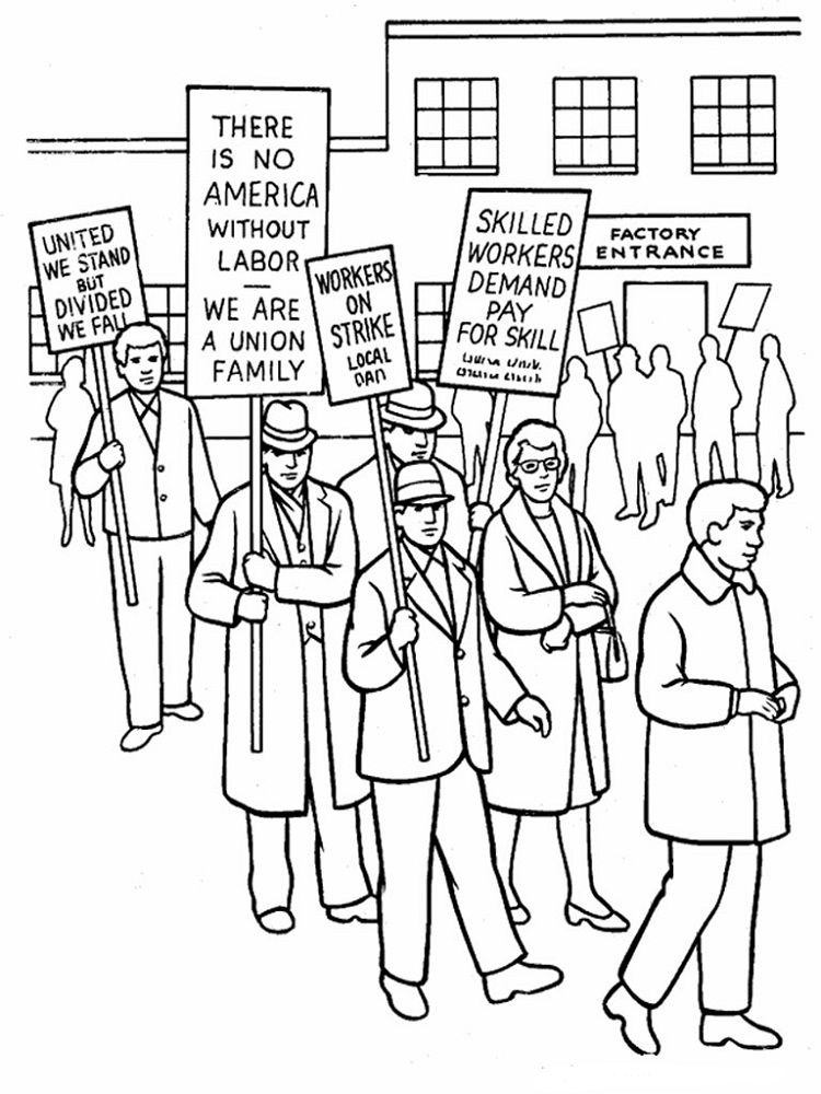 Labor Day Coloring Pages Factory Worker Coloring Pages For Kids Coloring Pages American Flag Coloring Page
