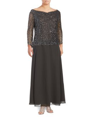 6c75f37682e J Kara - Plus Sequined Boatneck Floor-Length Dress