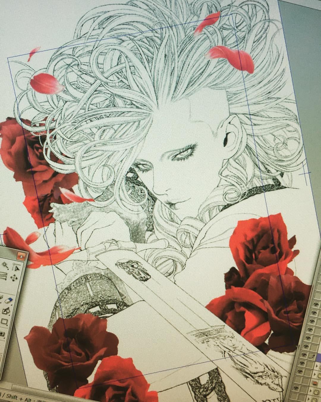 作画3日目。Marie Joseph カラー原稿。下準備完了。 これから着色作業に移る予定です。