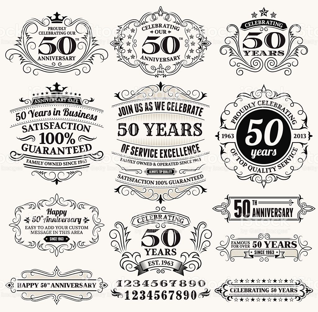 fifty year anniversary handdrawn royalty free vector