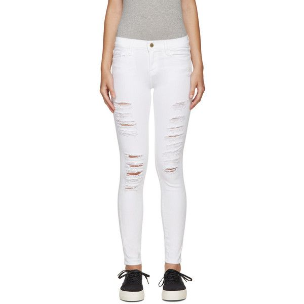 Frame Denim White Distressed Le Color Jeans ($215) ❤ liked on ...