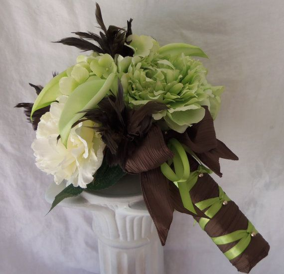 Peony And Calla Lily Wedding Bouquet Via Etsy By Chocolate Brown Mint Green Trendy Colors Chocolates