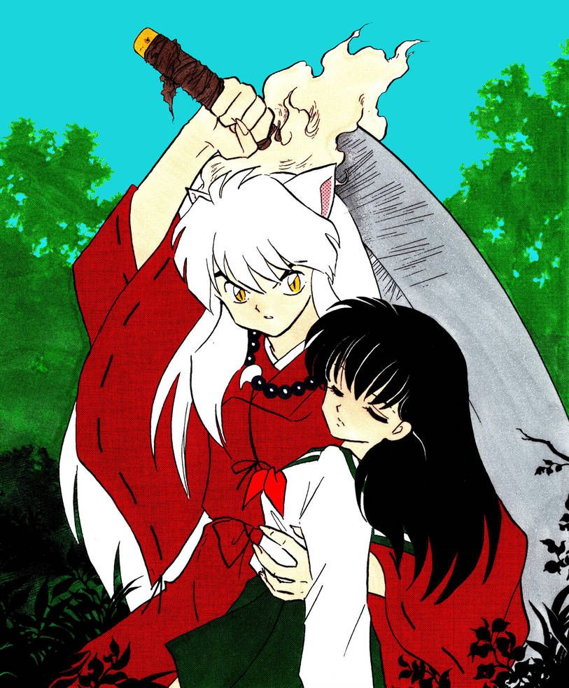 Inuyasha Protects The Unconscious Kagome In His Arm With His