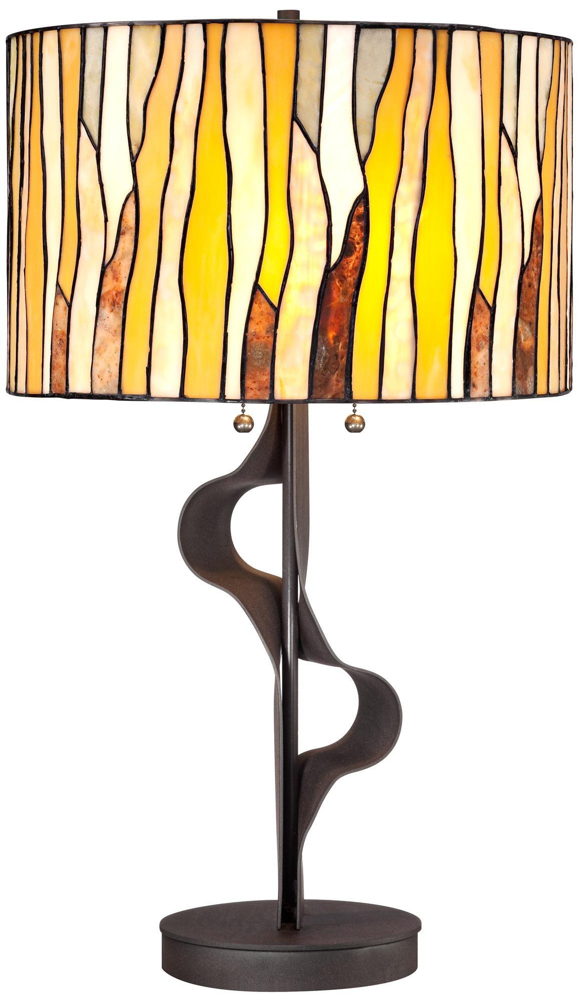 Organic Ribbon Art Glass Table Lamp -