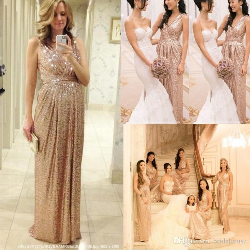 2015 Rose Gold Bridesmaids Dresses Sequins Plus Size Custom Made Maid Of Honor  Wedding Party Dress Cheap Champagne Bridesmaid Dresses Lace Wedding Dress  ... f6a957a56868