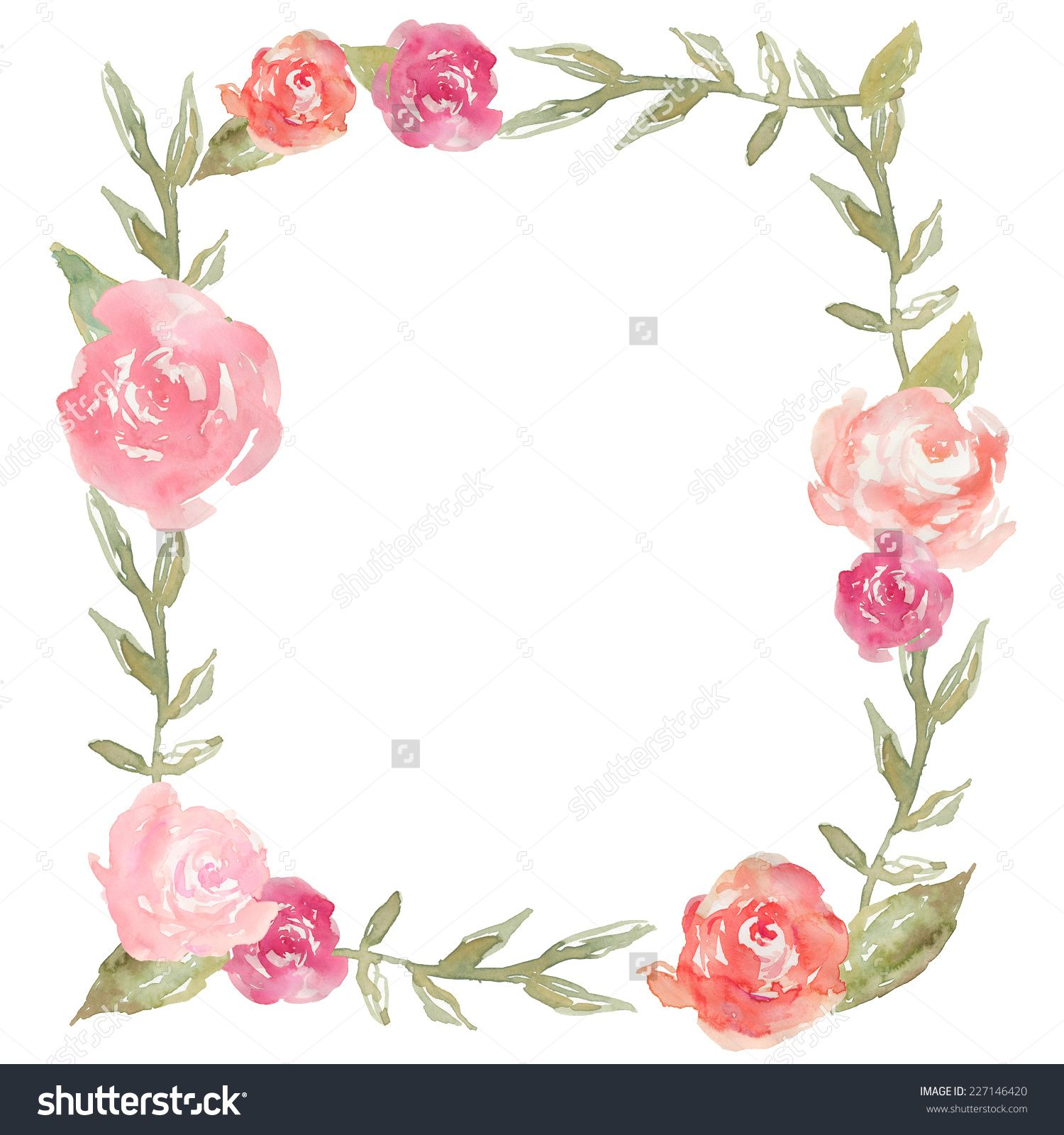 Square Watercolor Peony Wreath With Watercolor Leaves