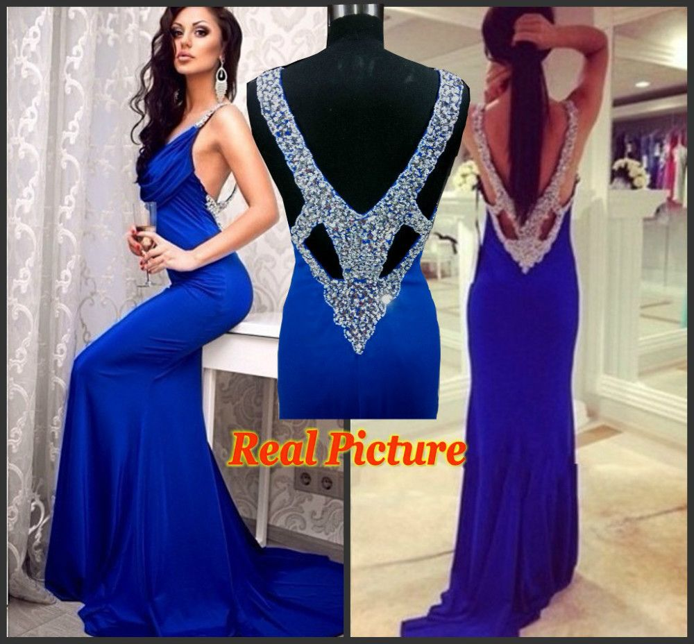 118b79cf7b Real Picture New Fashion Sexy Designer 2015 Royal Blue Backless Prom Dresses  Diamonds V Back Mermaid