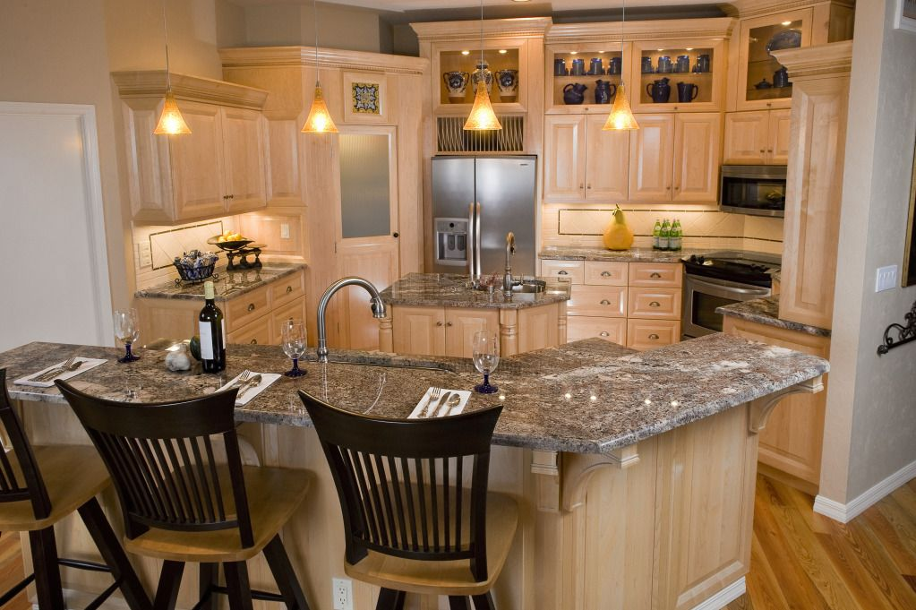 057 Granite Kitchen White Wash Cabinets Black And White