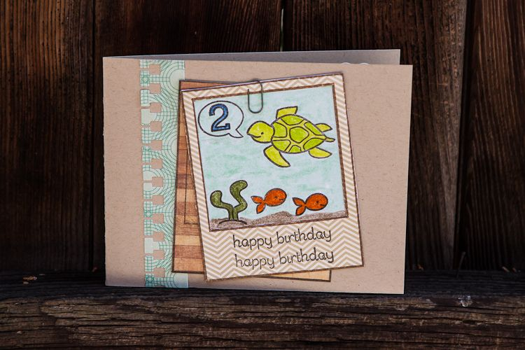 2nd birthday card using lawn fawn stamps