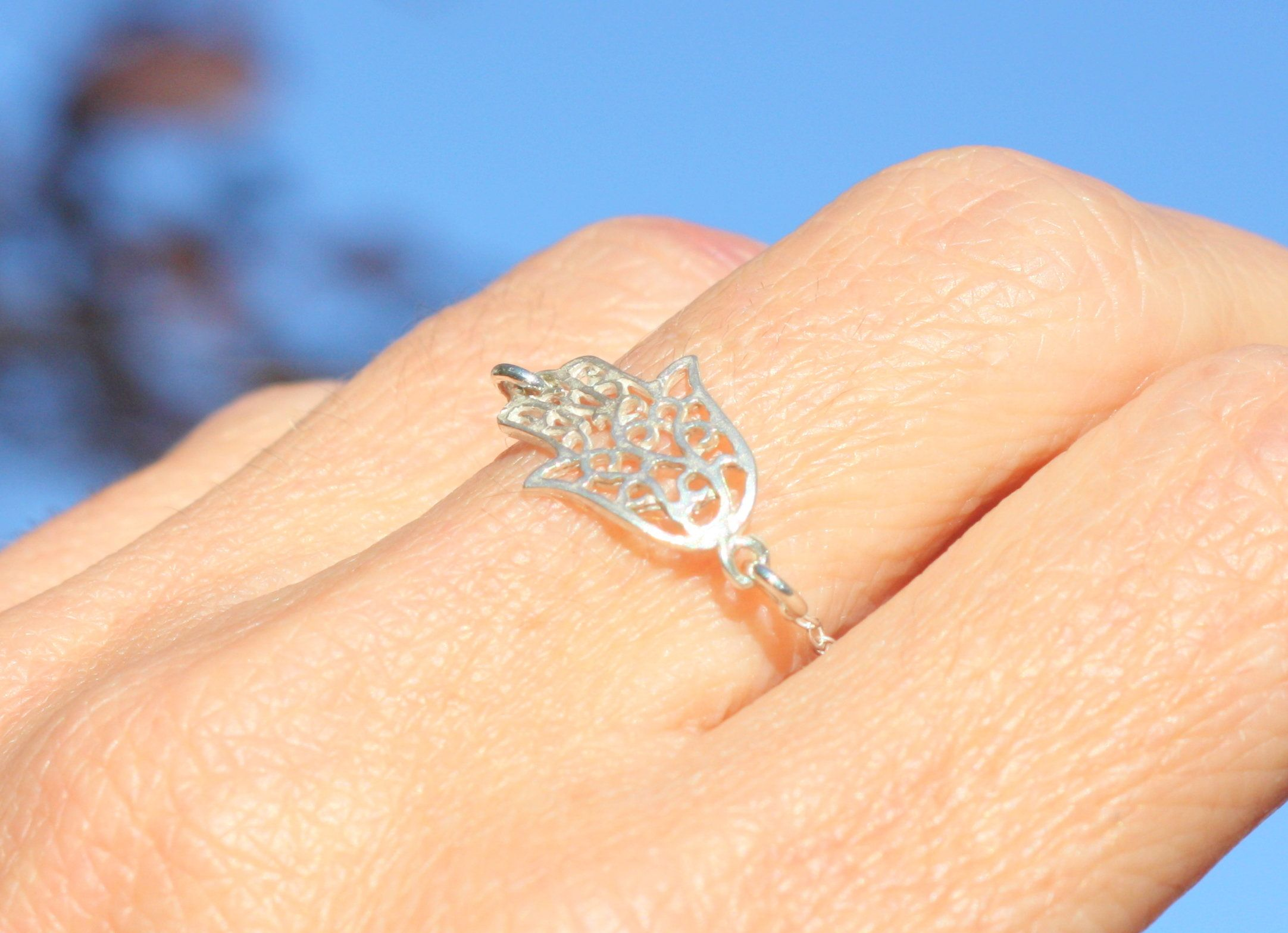 Delicate Ring Silver Ring Hamsa Hand Ring Gift For Womens /& Girls Diamond Ring Hamsa Ring Good Luck Hamsa Ring 14K Solid Gold Ring