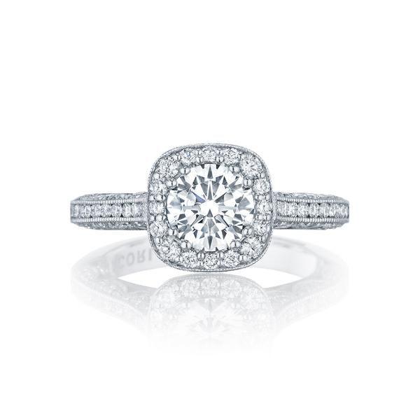 f518abc09b96 18 Karat White Gold Semi-Mount Diamond Halo Engagment Ring (Setting Only)
