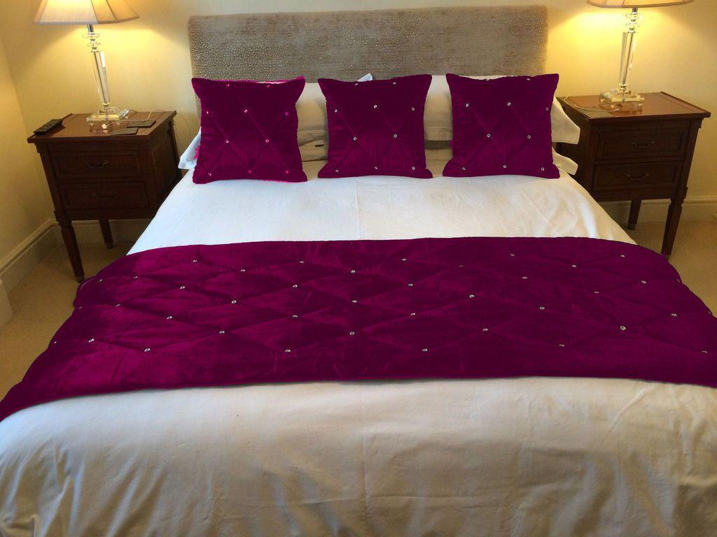 4pc 28 Quot X86 Quot Magenta Designer Quilted Velvet Bed Runner