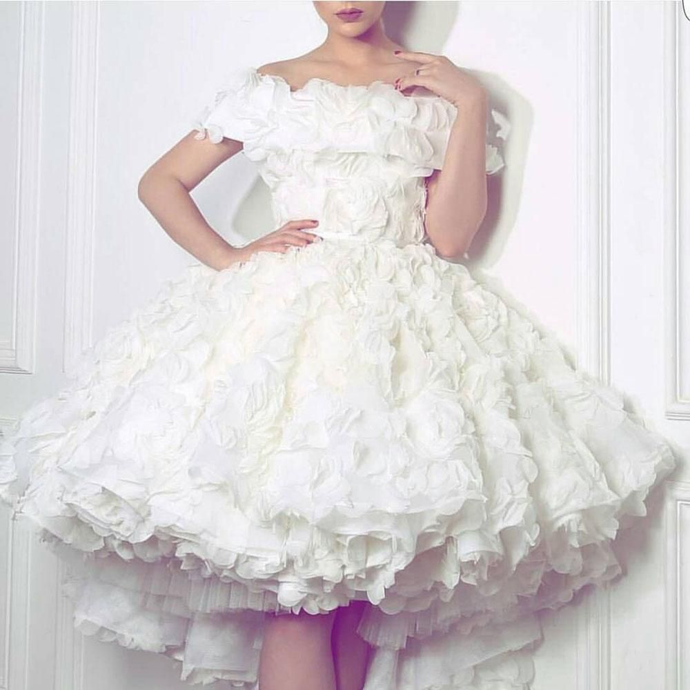 White flower off the shoulder short prom party dress fashion love
