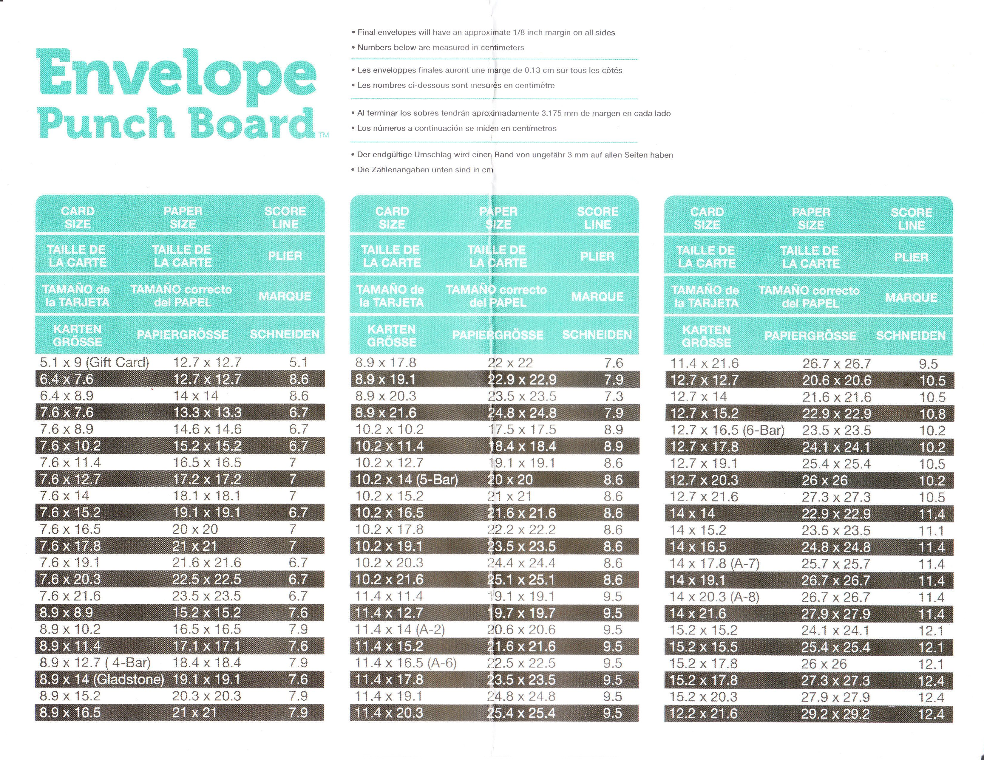 Envelope punch board measurements for large cards www