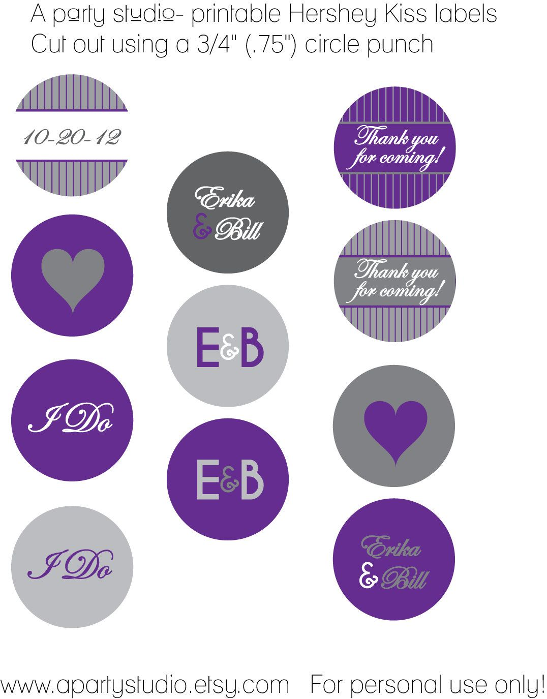 Wedding Favor- Personalized Hershey Kiss Labels in Purple and Grey ...