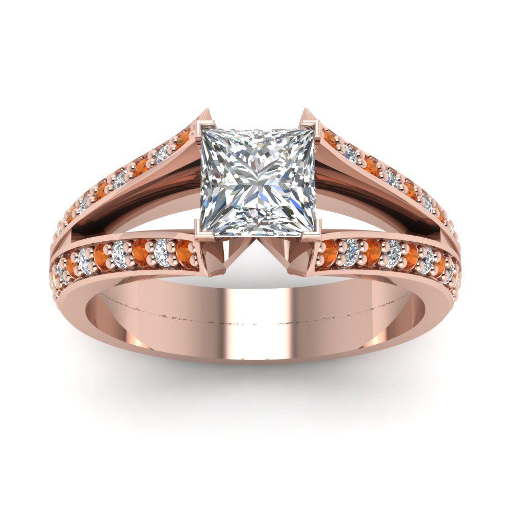 Princess Cut diamond Split Shank Engagement Ring with Orange Sapphire in 14K Rose Gold    Antique Pave Split Engagement Rings   