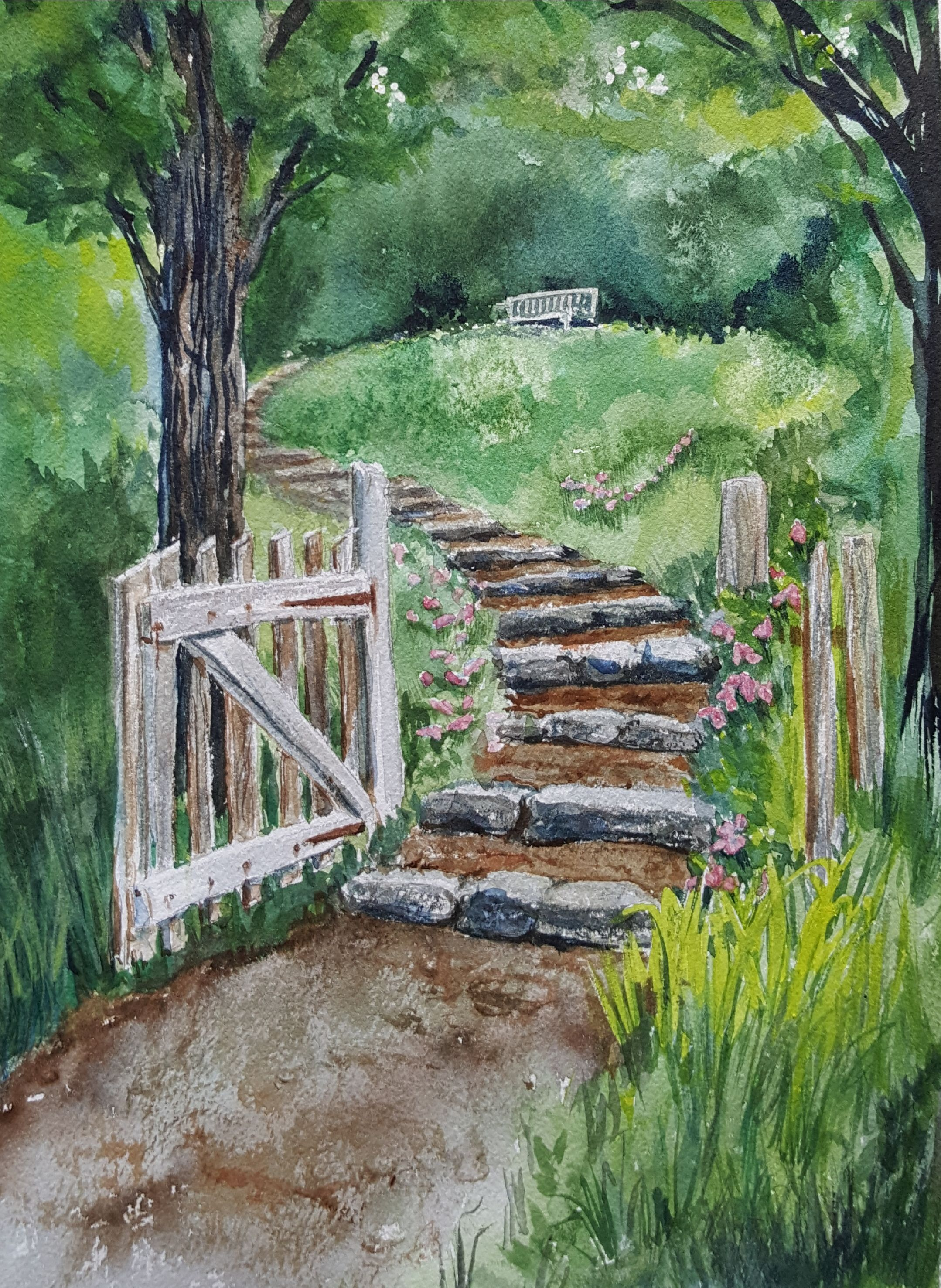 Garden Gate Garden Watercolor Watercolor Paintings Nature