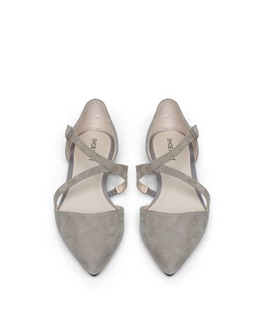 686e6b3d silver grey d'orsay flat with a (crisscross) twist interesting details to  make