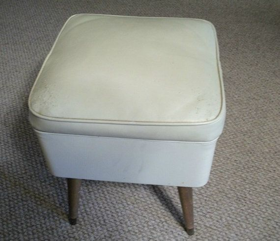 Vintage Furniture 1960\'s Sewing Chair Wood and Vinyl Storage Bench ...