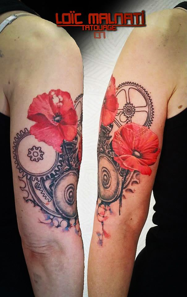 loic malnati flower mechanical tattoo ink pinterest coquelicots tatouage graphique et. Black Bedroom Furniture Sets. Home Design Ideas