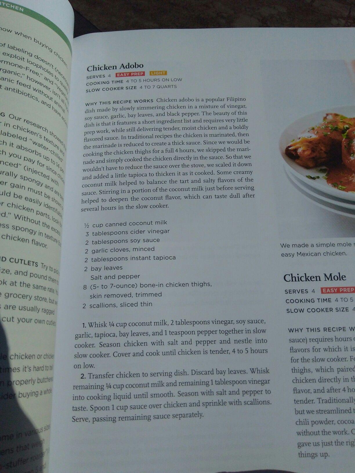 Slow cooker chicken adobo (America\'s test kitchen) | Recipes: make ...