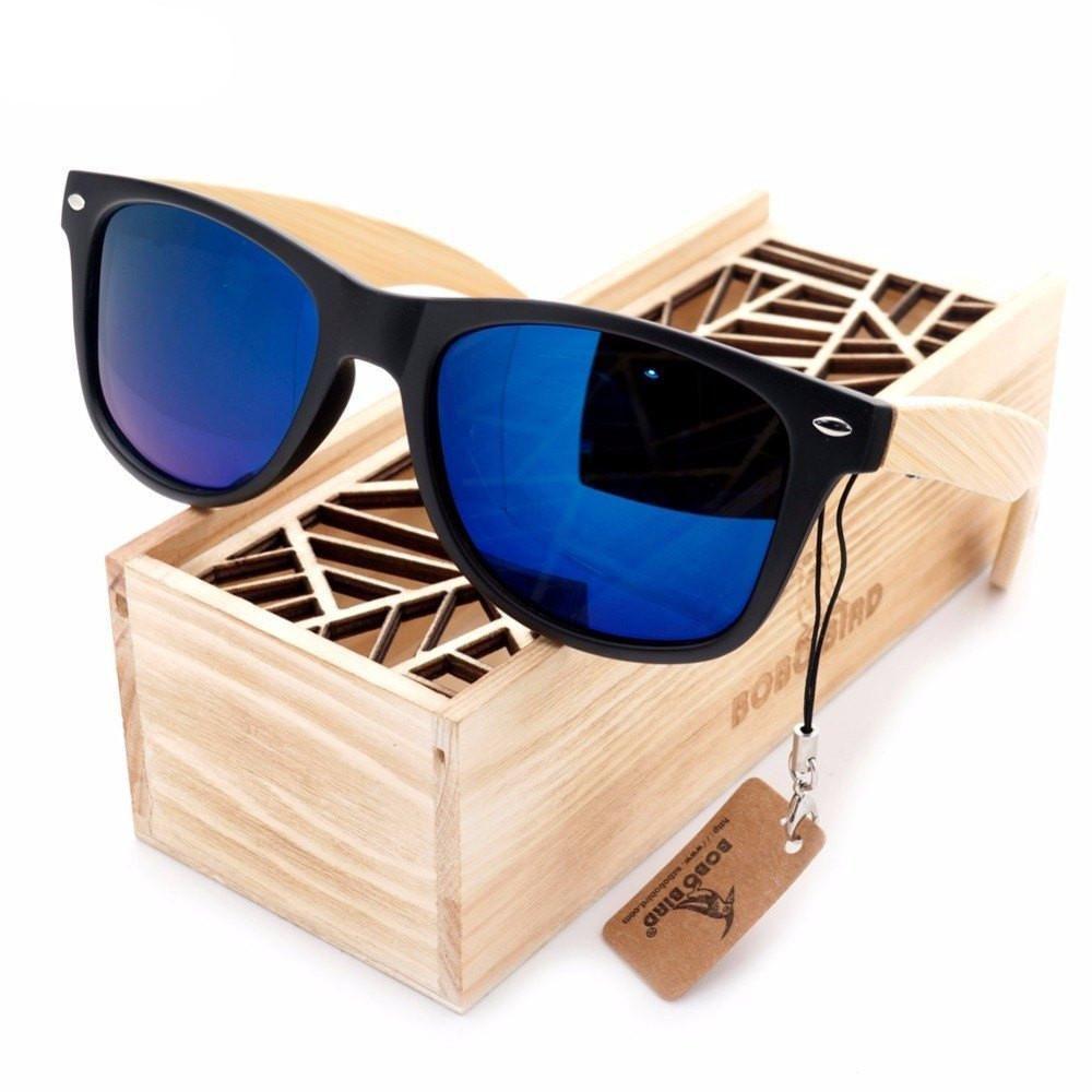 c828227f2d Model. Rectangular Vintage Black Bambusa Blumeana Bamboo Wood Sunglasses [4  Variants]
