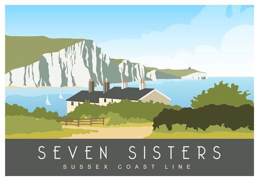 alennuksessa erinomainen laatu super erikoisuuksia SEVEN SISTERS. Art print, Travel Poster of The Seven Sisters ...