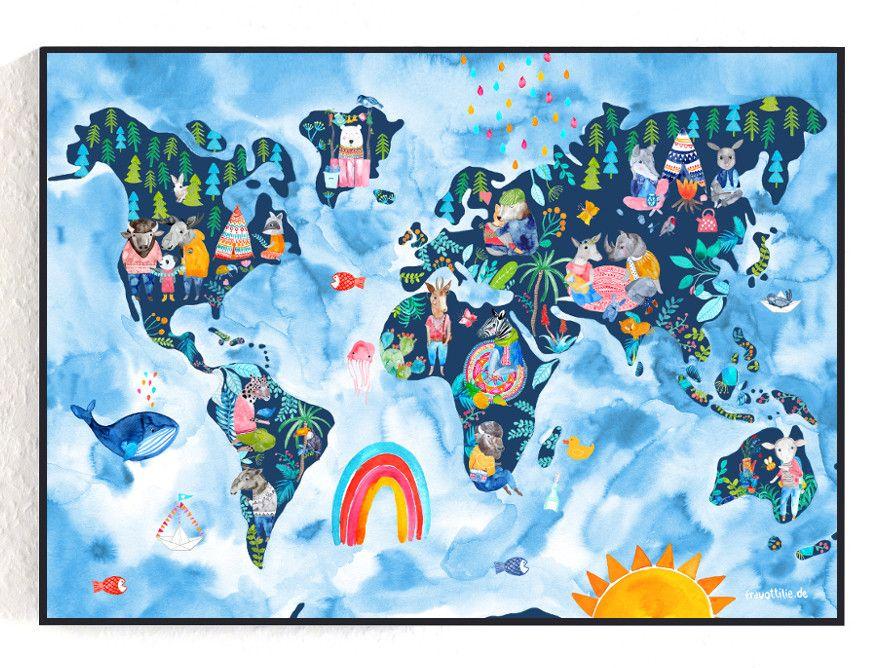 Bilder Poster *Weltkarte* (Kinderzimmer) ein
