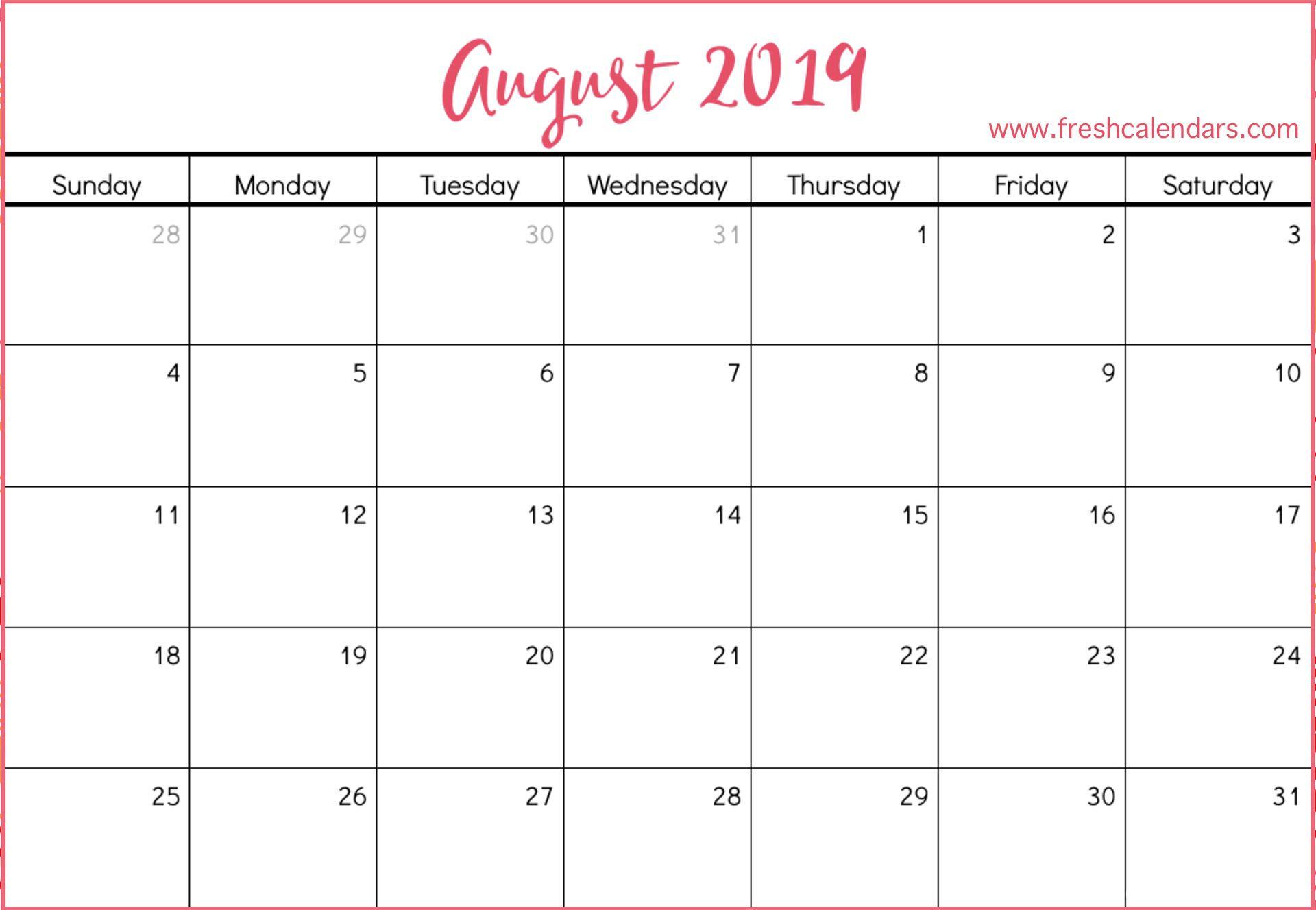 August 2019 Calendar August Calendar Calendar Template