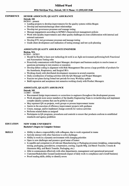 Quality Control Job Description Resume Best Of associate
