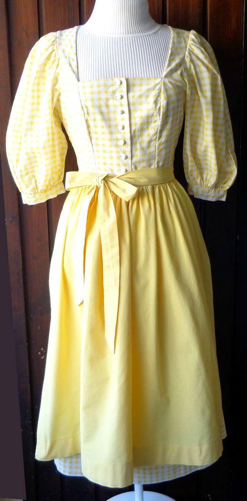 ☆ SPORTALM Trachtenkleid Dirndl Gr. 40 Gelb Kariert ☆ in Kleidung & Accessoires, Damenmode, Trachtenmode | eBay