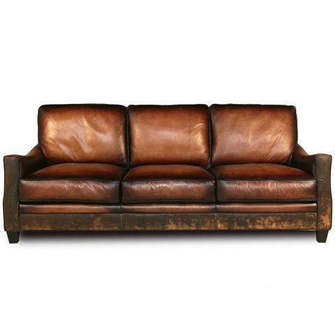 Sofa Cover Distressed Handmade Brown Leather Sofa