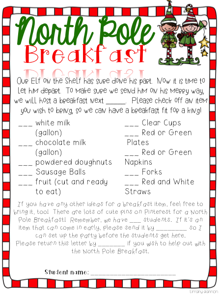 Classroom North Pole Breakfast Christmas Party and