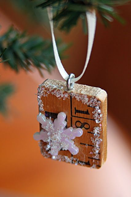 DIY Christmas Ornaments   Recycled Yard Stick And Scrabble Tiles