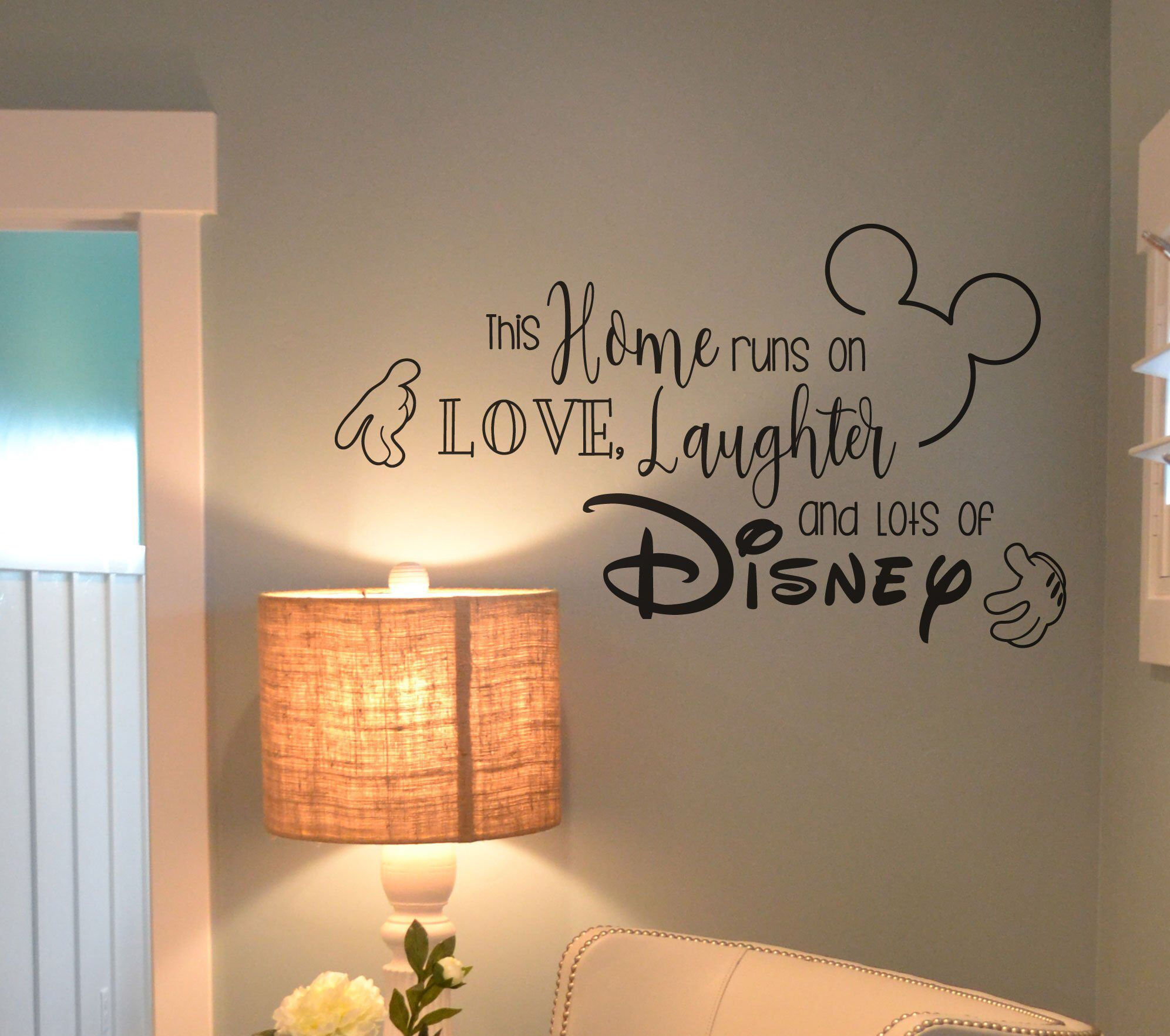 Disney Wall Decal Quote This Home Runs On Love Laughter And Etsy