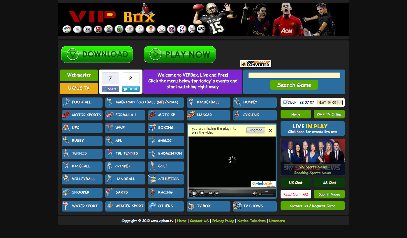 VIPBOX.TV the website is riddled with popups and is slow