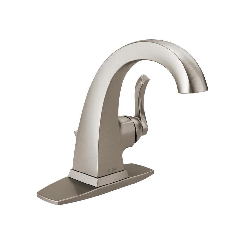 Delta Everly 4 In Centerset Single Handle Bathroom Faucet In Spotshield Brushed Nickel 15741lf Sp The Single Handle Bathroom Faucet Bathroom Faucets Faucet [ 1000 x 1000 Pixel ]