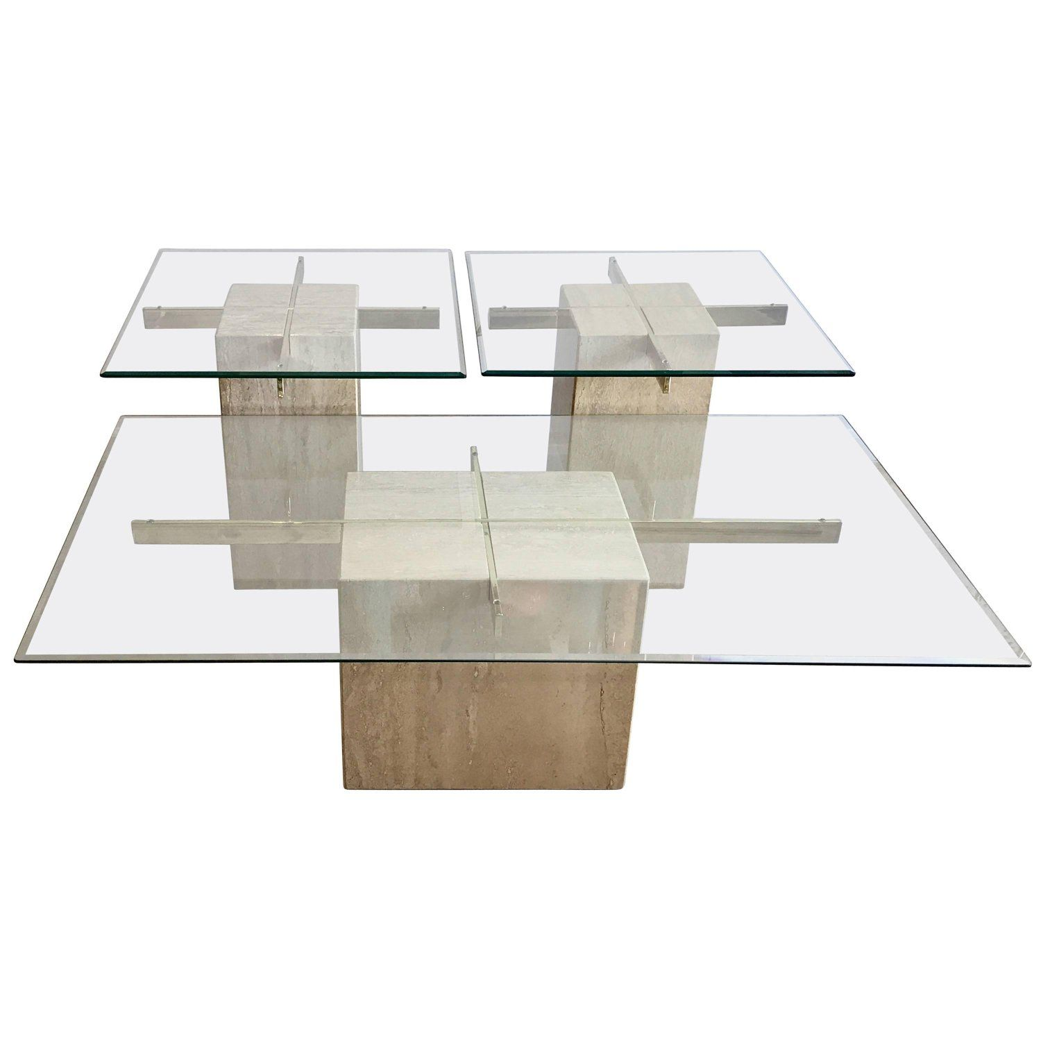 Italian Glass Coffee Table.Travertine Marble And Glass Coffee Table And Side Tables By Artedi