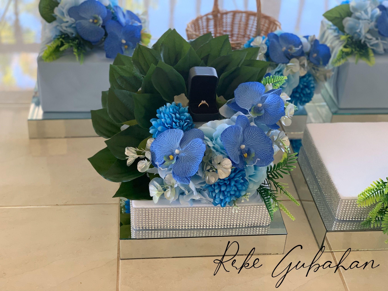 Idea Gubahan Sirih Junjung Dan Cincin Berwarna Biru Sirih Junjung Sirih Junjung Dan Cincin Wedding Hantaran