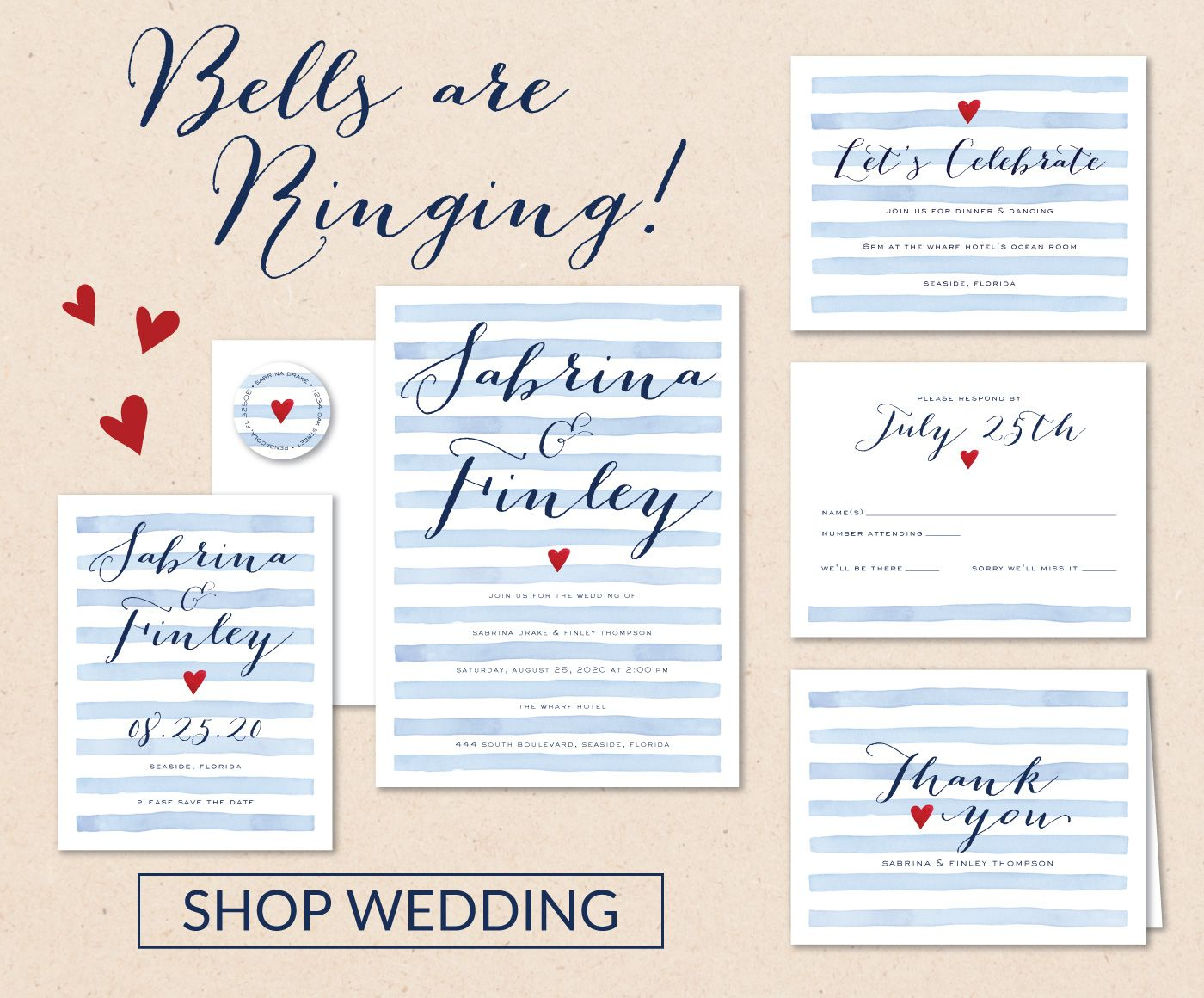 shop new summer wedding invitations response cards thank you notes wedding sets