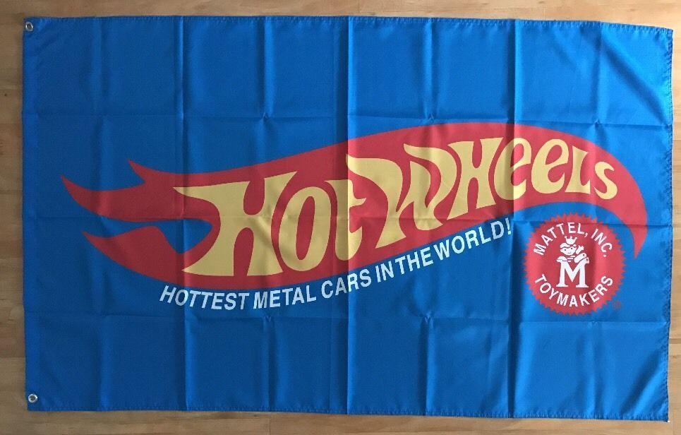 Mattel Hot Wheels Flag Banner 3X5FT New Man Cave Garage Wall Banner #HOTWHEELS