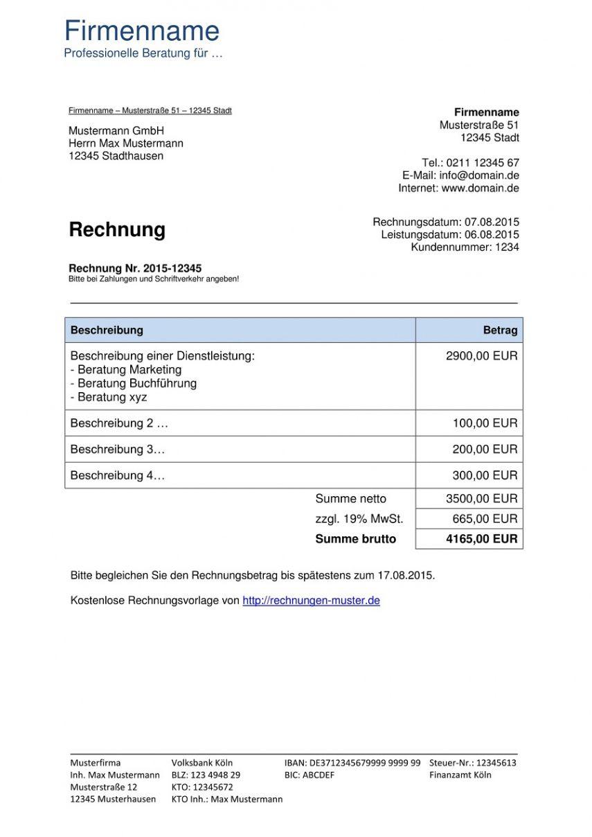 Rechnungsvorlagen Kostenlos Rechnungsvorlage Fur Jeden Zweck 9