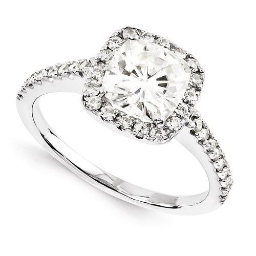 14k White Gold Cushion Cut Moissanite Halo Engagement Ring Gold