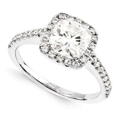14k White Gold Cushion Cut Moissanite Halo Engagement Ring Gold
