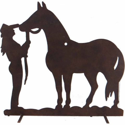 red shed cowgirl iron horse silhouette 5999 country